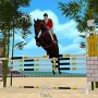 Beautiful arabian horse jumping over triple bar in jumpy horse show jumping iphone game